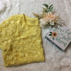 Yellow Floral Lace Shirt